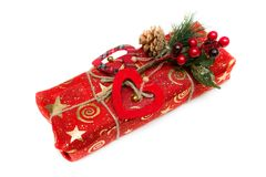 Gift in a beautiful package. Isolate on white Stock Image