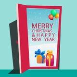 Gift behind the door. Vector design Royalty Free Stock Image