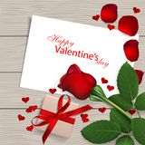 Gift for the beloved. Red rose with gift box on wooden background. Valentine`s day greeting card. Vector illustration Royalty Free Stock Photography