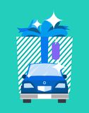Gift Big Image and Car Poster Vector Illustration Royalty Free Stock Photography