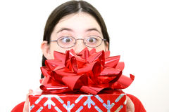 Gift with Big Red Bow stock image