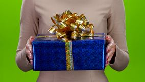 Gift in a big shiny cardboard box with a huge bow stock video footage