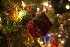 Gift bij een tak van nieuwe jaarboom Royalty-vrije Stock Afbeelding