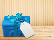 Gift. Birthday blue  box box christmas present package Royalty Free Stock Image