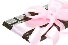 Gift Bitter Chocolate with Pink Bow Stock Photos