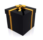 Gift in black and yellow Stock Photography