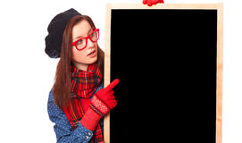Gift with blackboard. Royalty Free Stock Images