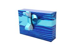 Gift with blue bow Royalty Free Stock Image