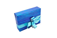Gift with blue bow Stock Images