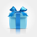 Gift with blue bow Stock Photo