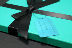Gift in a blue box Royalty Free Stock Photo