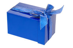 Gift blue box. Isolated on white Stock Photos