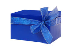 Gift blue box. Isolated on white Royalty Free Stock Photos