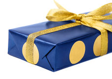 Gift blue box, isolated on white background. Royalty Free Stock Photo