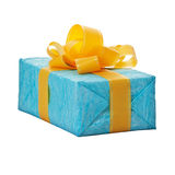 Gift in the blue box with yellow bow Royalty Free Stock Images