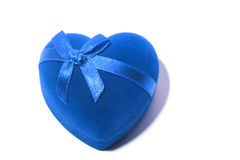 Gift blue heart with  bow tie Royalty Free Stock Photos