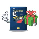 With gift blue passport in the mascot bag. Vector illustration stock illustration