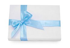 Gift with blue ribbon Stock Image