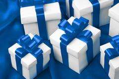 Gift on blue satin background Stock Photo