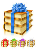 Gift of books with color ribbon and bow Royalty Free Stock Photography