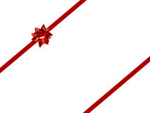 Gift border. Red gift bow and ribbon - double stripped diagonal Royalty Free Stock Image