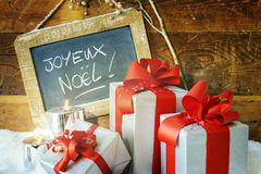 Gift boses and candles for christmas Stock Photo
