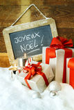 Gift boses and candles for christmas Stock Photography