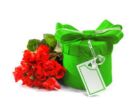 Gift with a bouquet of roses. Stock Photography