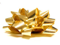 Gift bow. Gold gift bow - side view on a white background Stock Photos