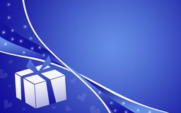 Gift with a bow. Christmas/ birthday gift with a bow on a blue background Stock Photo