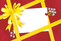 Gift, bow, blank card, embellishment Royalty Free Stock Photos