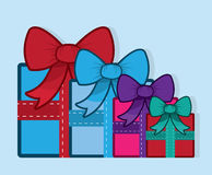 Gift With Bow Colors Group Stock Image