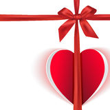 Gift bow with paper heart Stock Image
