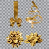 Gift bow realistic vector illustration on transparency grid. Golden ribbon present box decoration. Christmas design. Gift bow realistic vector illustration on stock illustration