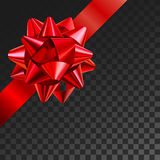 Gift bow realistic vector illustration on transparency grid. Red ribbon present box decoration. Superior for birthday. Christmas celebration design Stock Photo