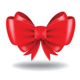 Gift bow. Red vector gift bow and ribbon. Image contains gradient mesh Stock Photo