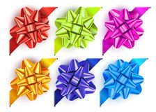 Gift bow set. With red, orange, green, blue and green bow Royalty Free Stock Photo