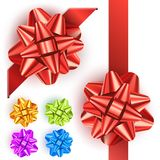 Gift bow set. With red, orange, green, blue and green bow Stock Image