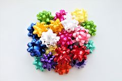 Group of Colorful gift bows for gifts Stock Photo