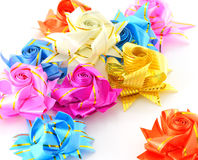 Gift bows ribbons. Five colour gift bows with ribbons Stock Photo