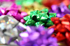 Gift bows with a shallow depth of field. Colourful gift bows with a shallow depth of field stock photo