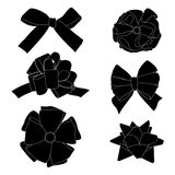 Gift bows silhouettes Royalty Free Stock Images