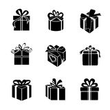 Gift box. – Vector icon. Silhouette on white background Stock Images