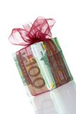 Gift box of 100 euro. Money gift boxes isolated on a white background Royalty Free Stock Images