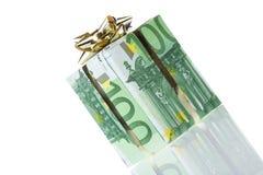 Gift box of 100 euro. Money gift box isolated on a white background Stock Photo