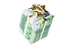 Gift box of 100 euro. Money gift box isolated on a white background