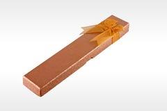 Gift Box. Orange blue gift box on white background stock photo