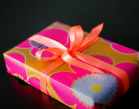 Gift box. A gift box on black background Royalty Free Stock Image