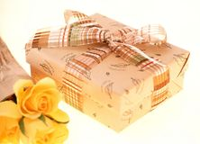 Gift Box. And roses stock photos