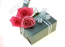 Gift Box. And red roses stock image